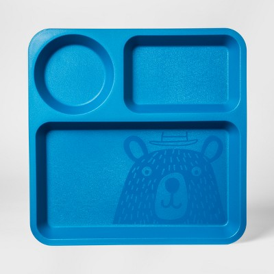 10  Plastic Kids Square Divided Plate Blue - Pillowfort™