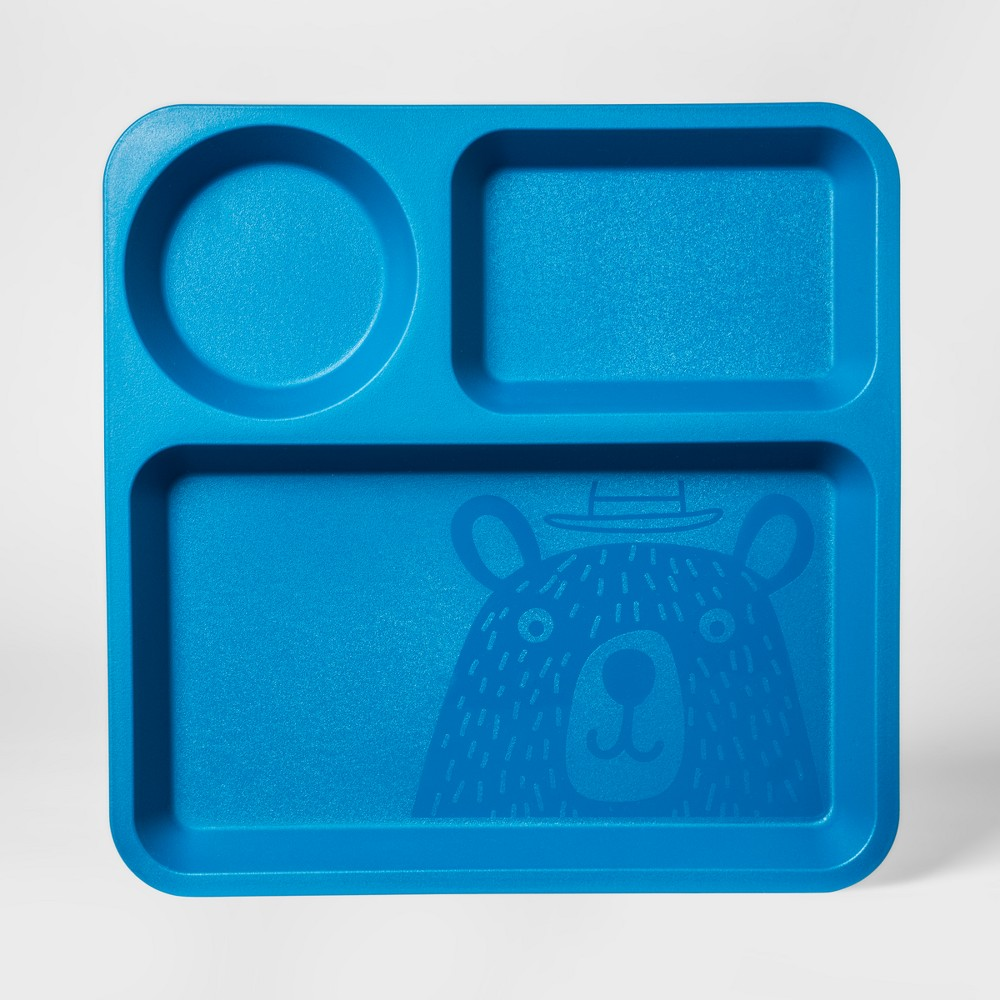 "Image of ""10"""" Plastic Kids Square Divided Plate Blue - Pillowfort"""