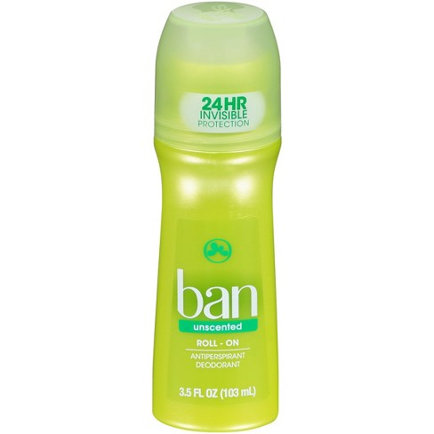 Ban Roll-On Unscented Antiperspirant Deodorant - 3 5oz