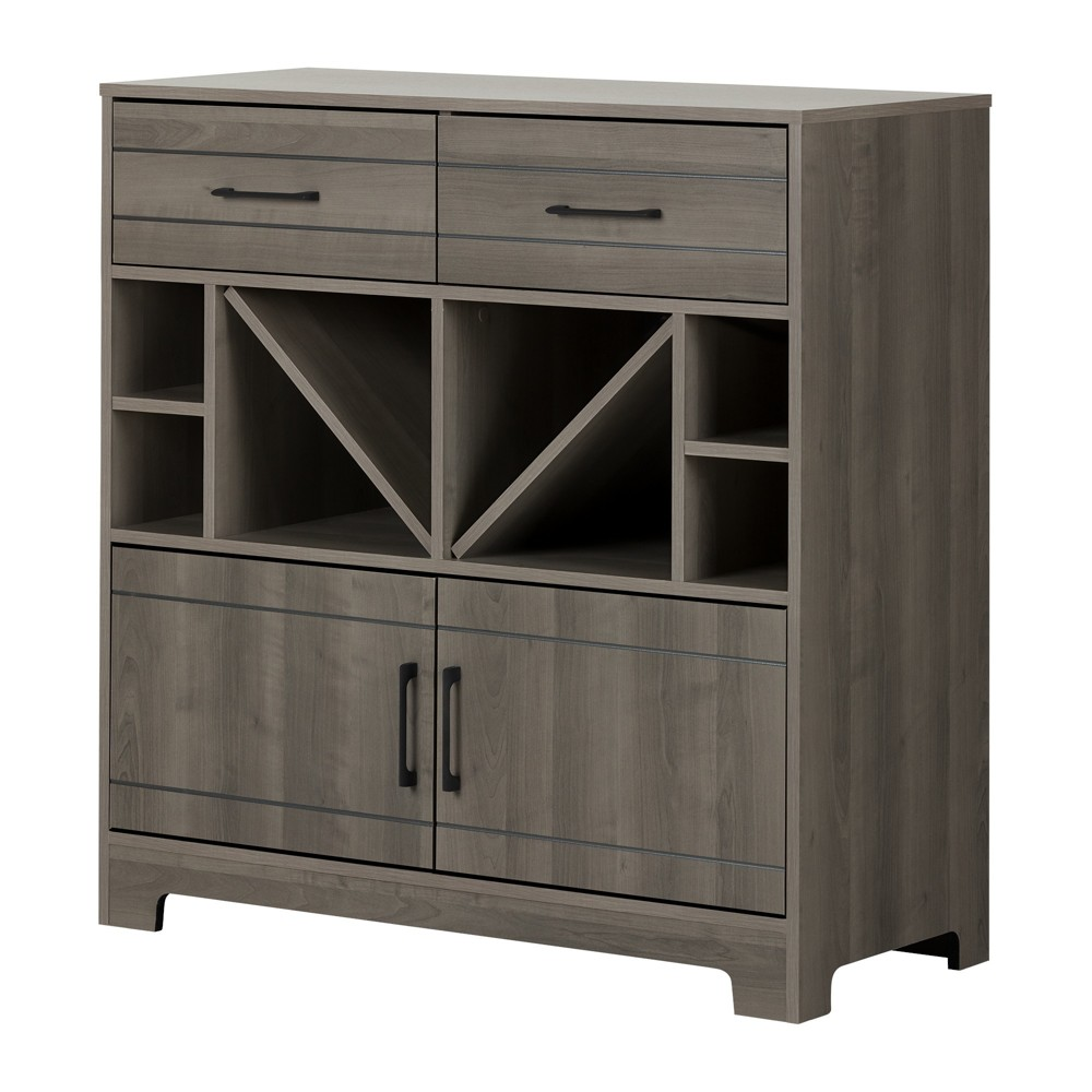 Vietti Bar Cabinet with Bottle Storage and Drawers Gray Maple South Shore