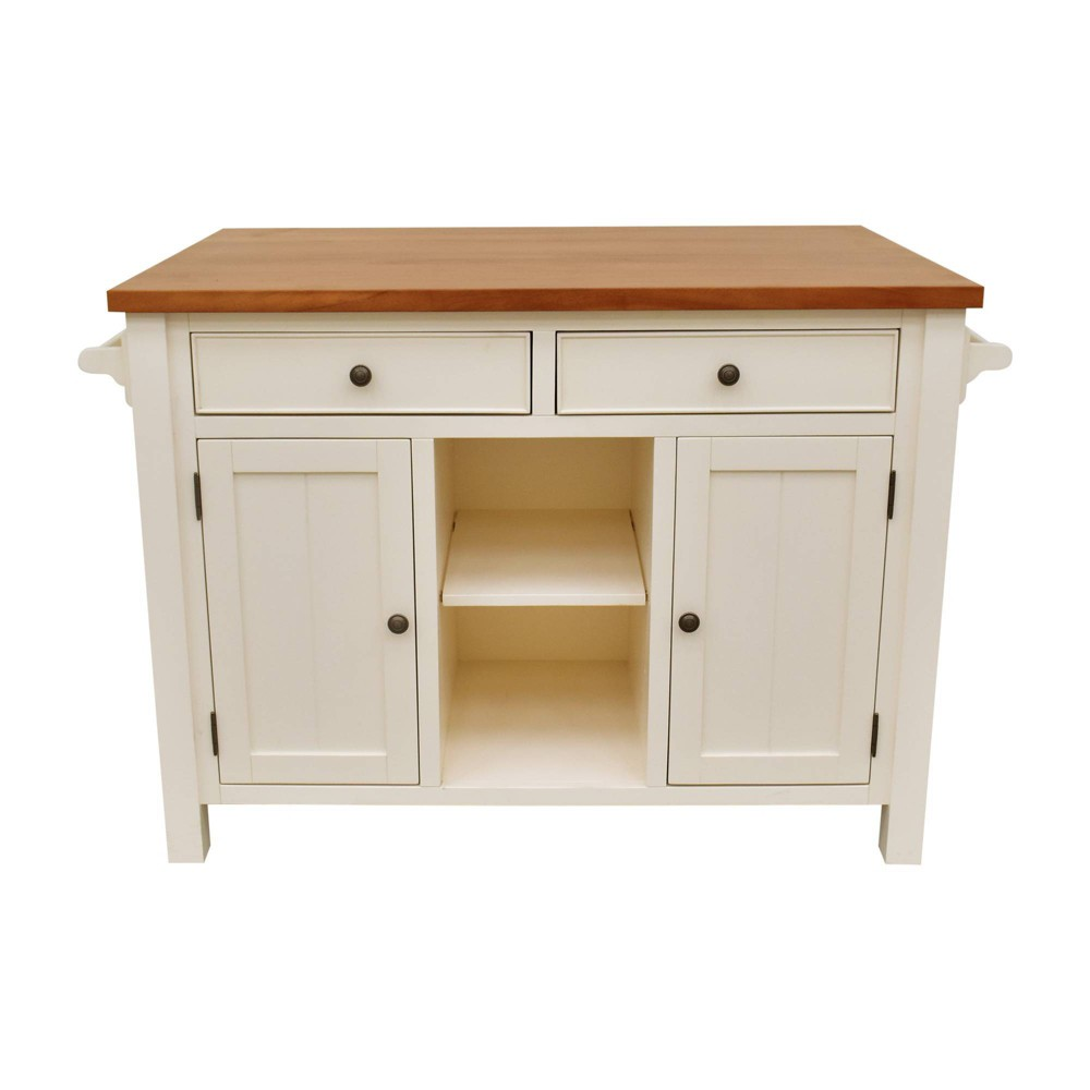 Image of Atlantic Kitchen Island with Overhang White - 222 Fifth