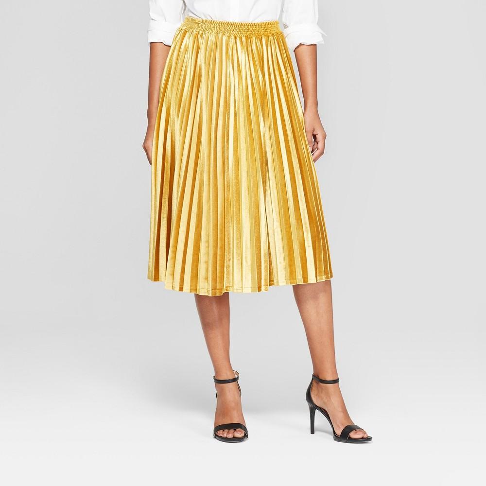 Women's Velvet Pleated Midi Skirt - A New Day Gold XL