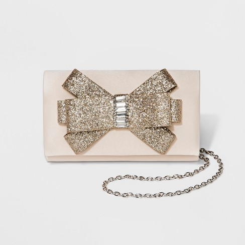 Women's Glitter Bow Clutch Handbag - Estee & Lilly - image 1 of 4