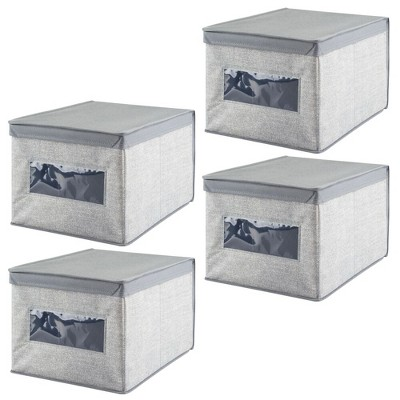 mDesign Soft Fabric Closet Storage Organizer Box, Large, 4 Pack