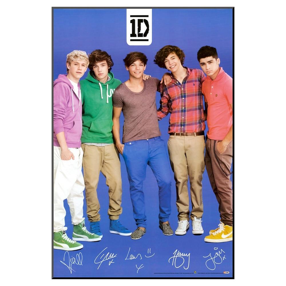 Art.com One Direction Signatures Blue Mounted Print, Princess Blue