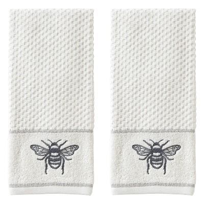2pc Farmhouse Bee Hand Towel Set White - SKL Home