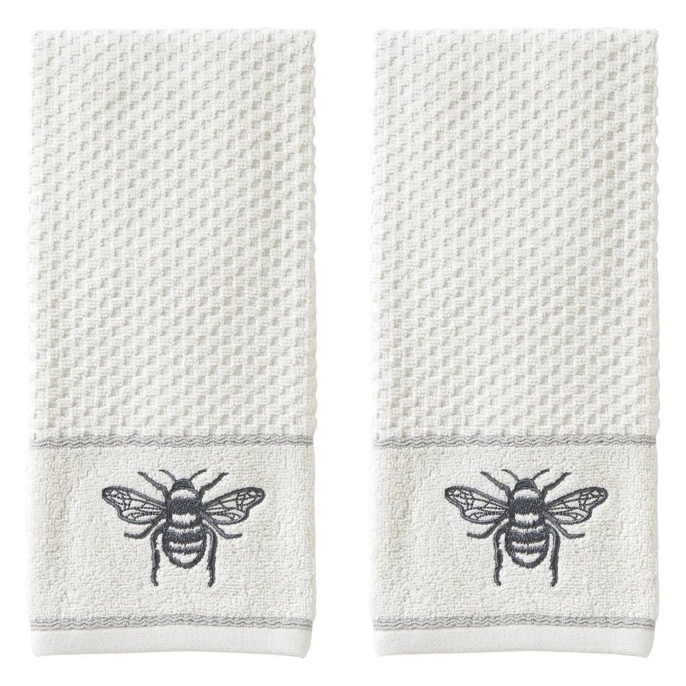 Image of 2pc Farmhouse Bee Hand Towel Set White - SKL Home