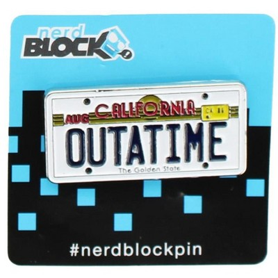 """Nerd Block Back to the Future """"Outatime"""" License Plate Enamel Collector Pin"""