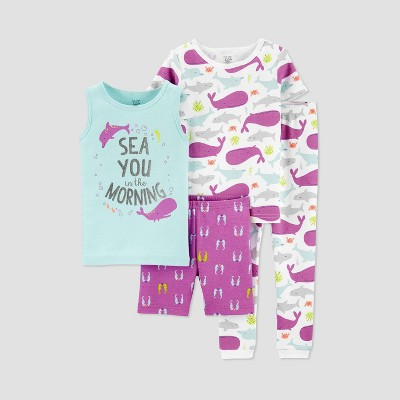 Baby Girls' 4pc Sea Pajama Set - Just One You® made by carter's Purple 12M
