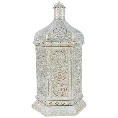 "Northlight 21.5"" White and Gold Moroccan Style Pillar Candle Table Lantern"