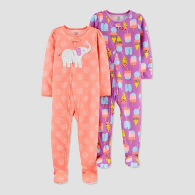 Baby Girls' Elephant Ice Cream Footed Pajama - Just One You® made by carter's Pink 12M
