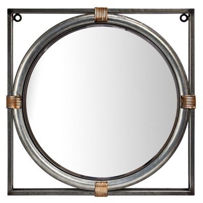 """17"""" Round Metal Wall Accent Mirror in Square Frame Antiqued Silver - American Art Decor"""