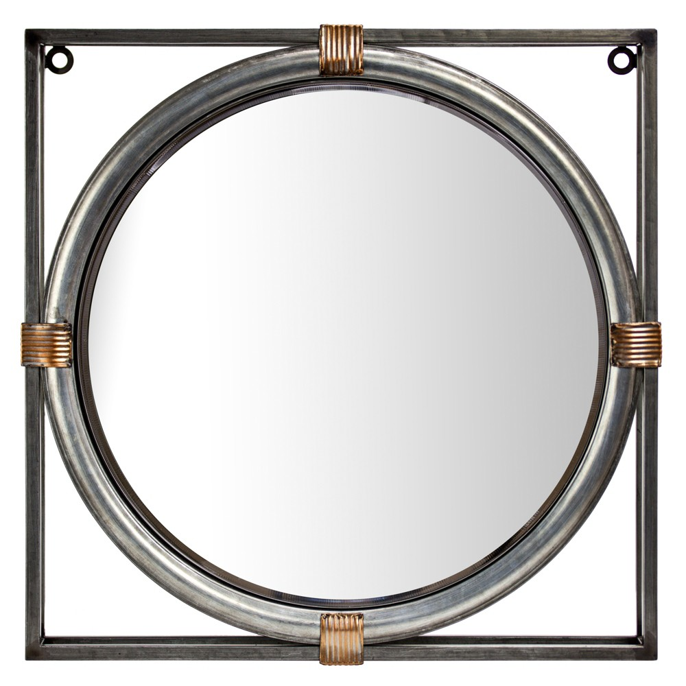 "Image of ""17.13x2.36""""x17.13"""" Round Mirror In Square Frame Gray - E2 Concepts"""