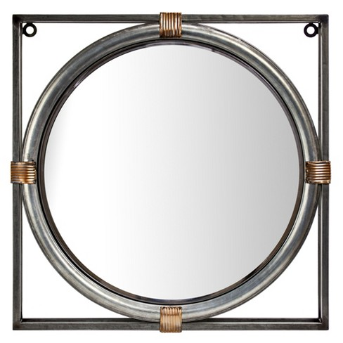 "17.13""x2.36""x17.13"" Round Mirror In Square Frame Gray - E2 Concepts - image 1 of 6"