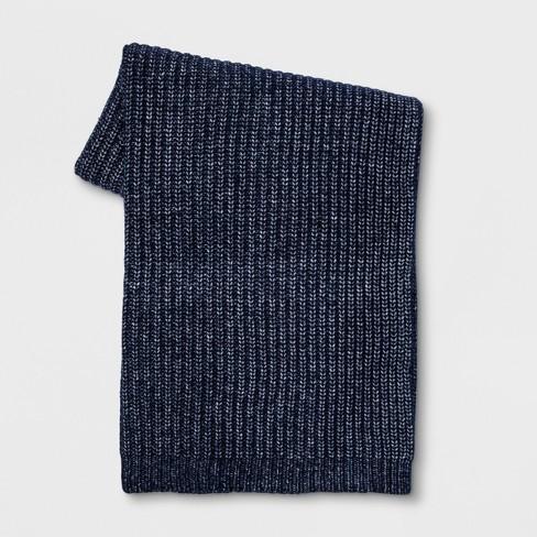 "Beige Throw Blanket 50/""x 60/"" Threshold Knittted Blue"