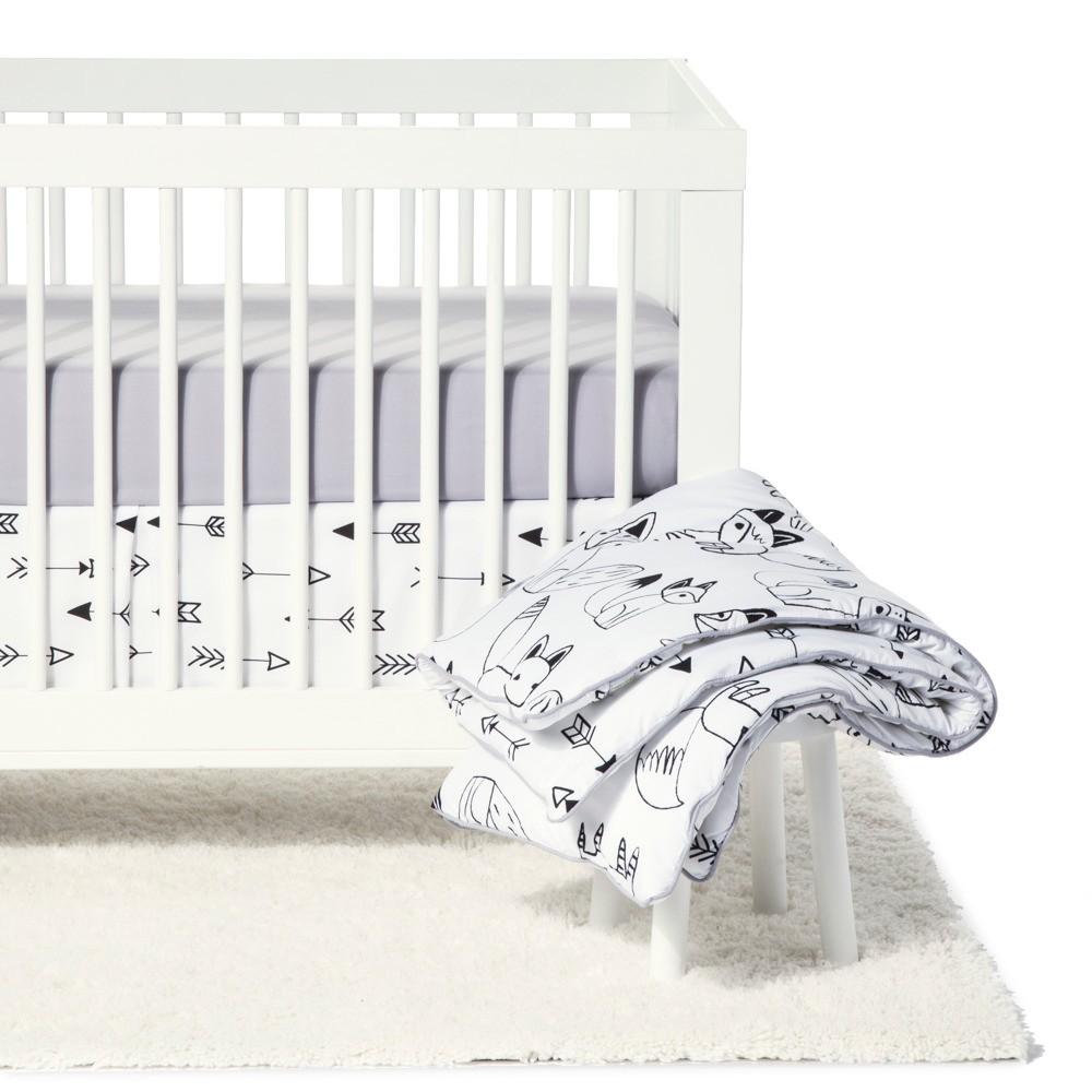 Sweet Jojo Designs Crib Bedding Set - Fox - Black/White 11pc