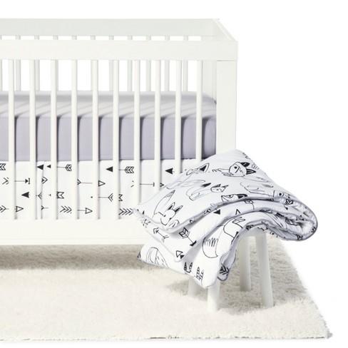 Sweet Jojo Designs Crib Bedding Set Fox Black White 11pc