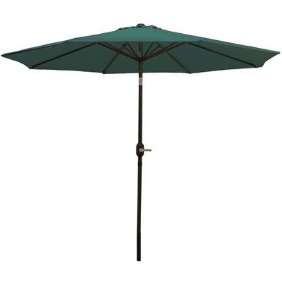 Aluminum Market Tilt Patio Umbrella 9' - Green - Sunnydaze Decor