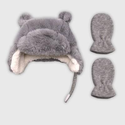 Baby Girls' Hat And Glove Set - Cat & Jack™ Gray 0-6M