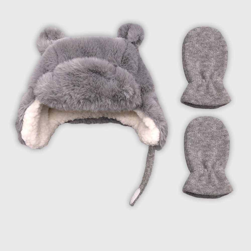 Image of Baby Girls' Hat And Glove Set - Cat & Jack Gray 0-6M, Girl's