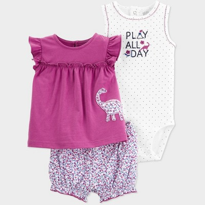 Baby Girls' 3pc Dino Embroided Top and Bottom Set - Just One You® made by carter's Purple/White 3M