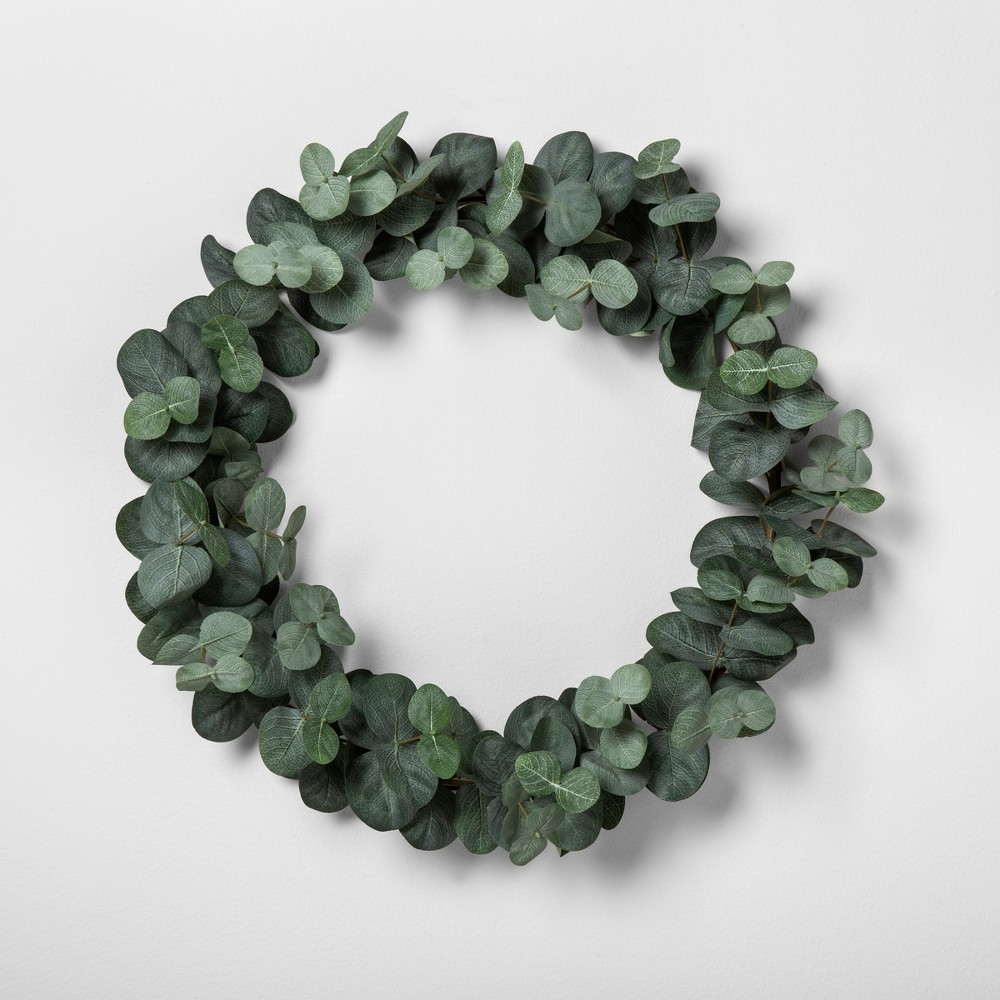 """Image of """"16"""""""" Faux Eucalyptus Wreath 16"""""""" - Hearth & Hand with Magnolia, Green"""""""