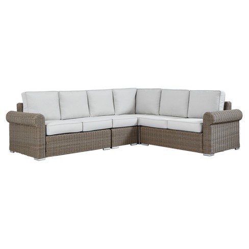 Riviera Pointe Wicker Patio 6-Seat Round Arm Sectional with Cushions - Mocha - Inspire Q - image 1 of 2
