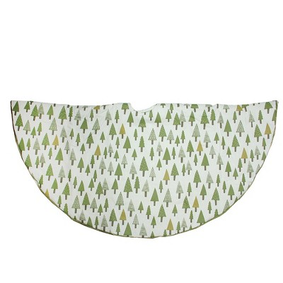 """Northlight 48"""" Cream White and Green Forest Christmas Tree Skirt"""