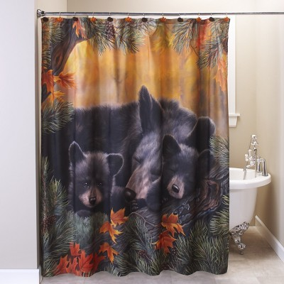 Lakeside Cozy Bears Shower Curtain - Decorative Bath Accessory with Animal Theme