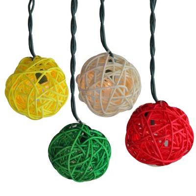 PENN 10ct Mini Rattan Ball String Lights Multi-Color - White Wire