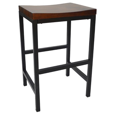 "24"" Ira Counter Height Barstool Metal/Chestnut - Carolina Chair & Table"
