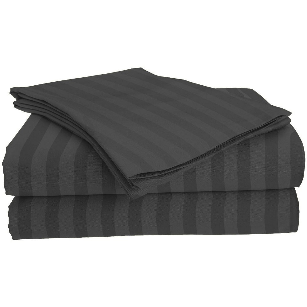 Image of Full Garment Wash Microfiber Striped Sheet Set Dark Gray - Posh Home