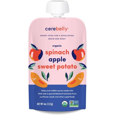 Cerebelly Clean Label Project Purity Award Winning  Spinach Apple Sweet Potato Organic Baby Food Pouch - 4oz