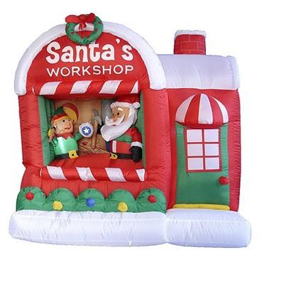 "LB International 60"" Inflatable Lighted Santa Claus Workshop Christmas Outdoor Decor"