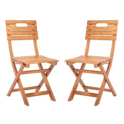 2pc Blison Folding Chairs Natural - Safavieh