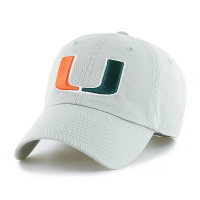 NCAA Miami Hurricanes Men's Light Gray Washed Relaxed Fit Hat