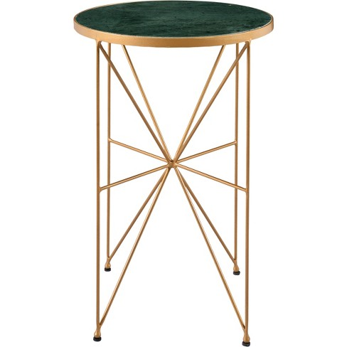 Green Round Table.Sheer Marble Green Round Accent Table Gold Treasure Trove