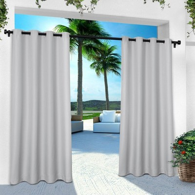 """Set of 2 84""""x54"""" Solid Cabana Grommet Top Light Filtering Curtain Panel Light Gray - Exclusive Home"""