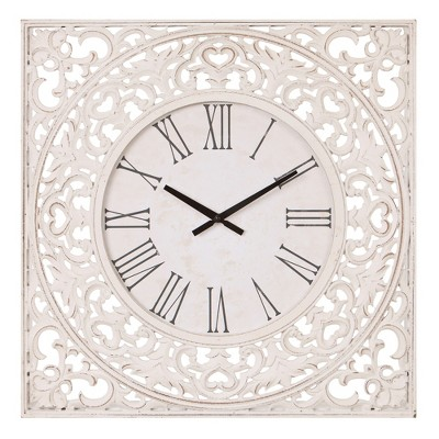 24  Distressed Ornate Wood Carved Wall Clock White - Patton Wall Decor