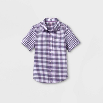 Boys' Woven Short Sleeve Button-Down Shirt - Cat & Jack™ Purple