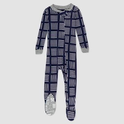 Honest Baby Boys' Square Print Snug Fit Footed Pajama - Blue 12M