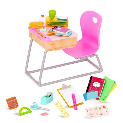 """Our Generation Flying Colors School Desk & Supplies Accessory Set for 18"""" Dolls"""