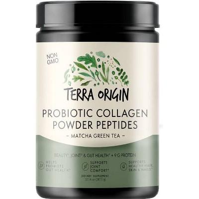 Terra Origin Probiotic Collagen Powder Peptides Matcha Green Tea - 10.14oz