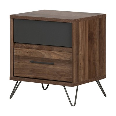 Olvyn 2 Drawer Nightstand Natural Walnut/Charcoal - South Shore
