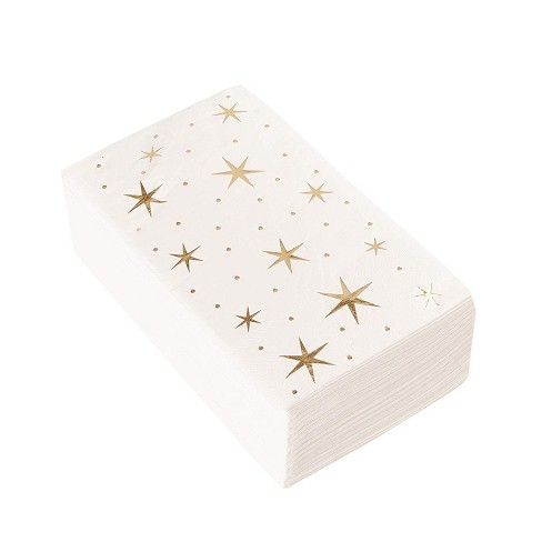 Juvale 50 Pack Disposable Gold Star Paper Napkins 3-Ply Party Supplies, Folded 4 x 8 Inches - image 1 of 3