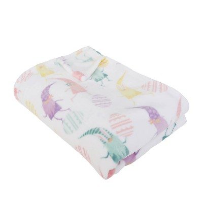 """50""""x70"""" Flannel Fleece Folded Evan Easter Gnomes Throw Blanket Bright White - Décor Therapy"""