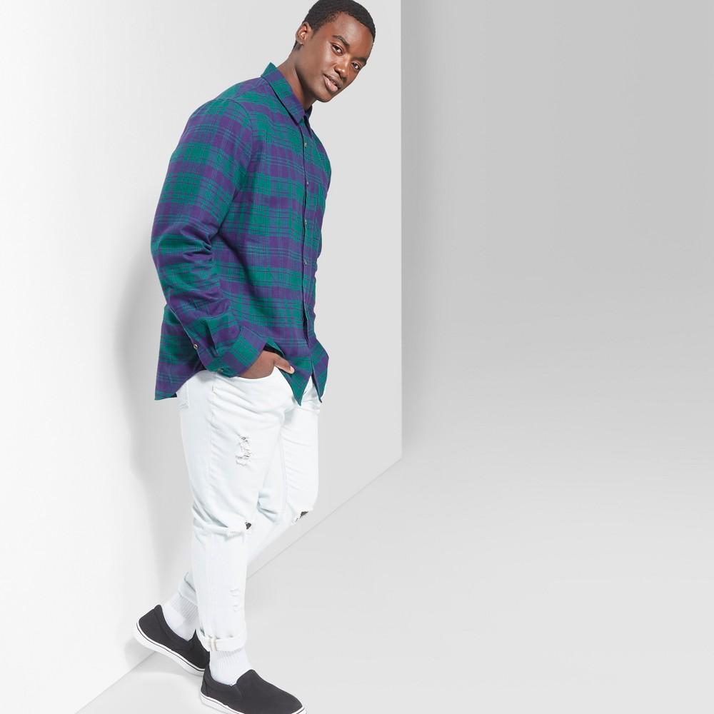 Men's Big & Tall Plaid Long Sleeve Button-Down Shirt - Original Use Green Reflection 2XBT