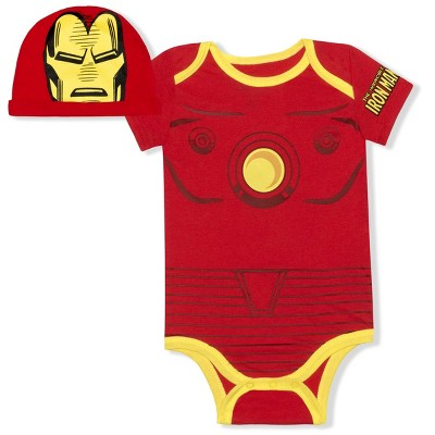 Marvel Heroes Baby Boy's Avengers Bodysuit Creeper with Character Cap for Infants