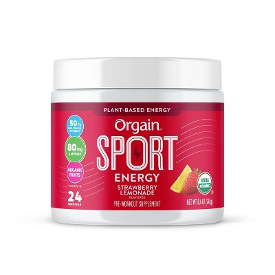Orgain Organic Sport Energy Powder - Strawberry Lemonade - 8.4oz