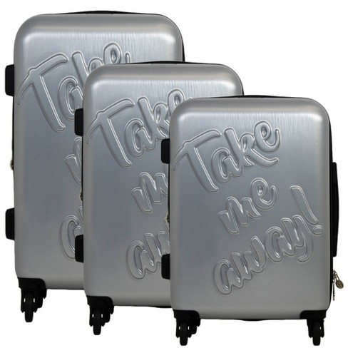 The Macbeth Collection 3pc Take me Away Hardside Spinner Luggage Set - Silver - image 1 of 3